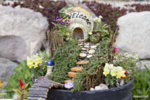 Fairy garden with fairy house