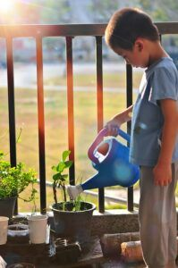 Young boy watering potted plants on porch