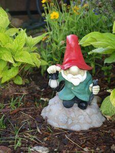 garden gnome sitting with lantern