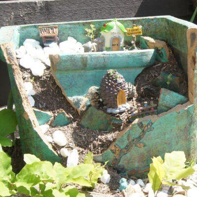 outdoor fairy garden ideas broken planter
