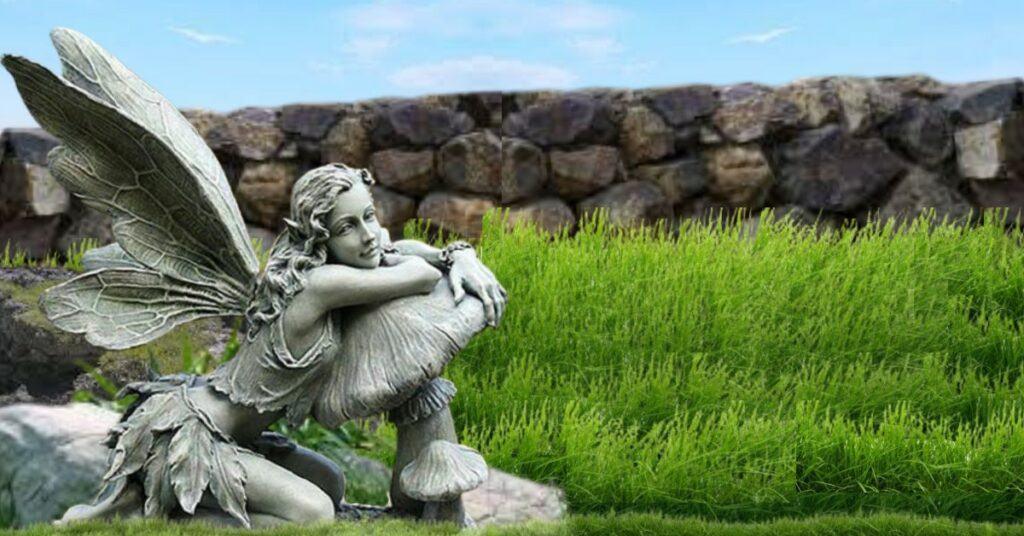 Beautiful Fairy Leaning on Mushroom StatueSitting Fairy Garden Statues ❀ Fairy Circle Garden